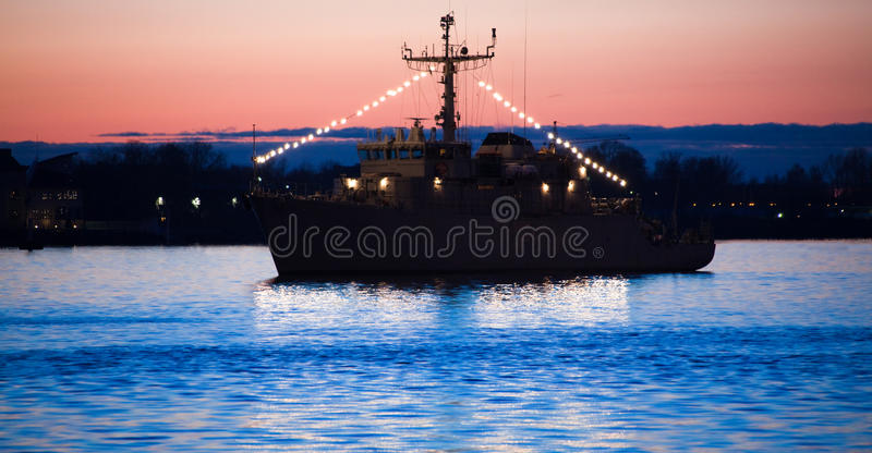 Frigate In Harbor Royalty Free Stock Images