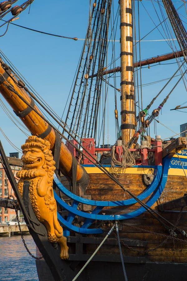 Frigate in harbor of Goteborg, Sweden. Frigate anchored in harbor of Goteborg, Sweden royalty free stock photography