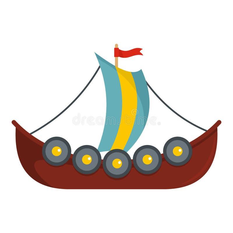 Frigate icon, flat style. Frigate icon. Flat illustration of frigate vector icon for web royalty free illustration