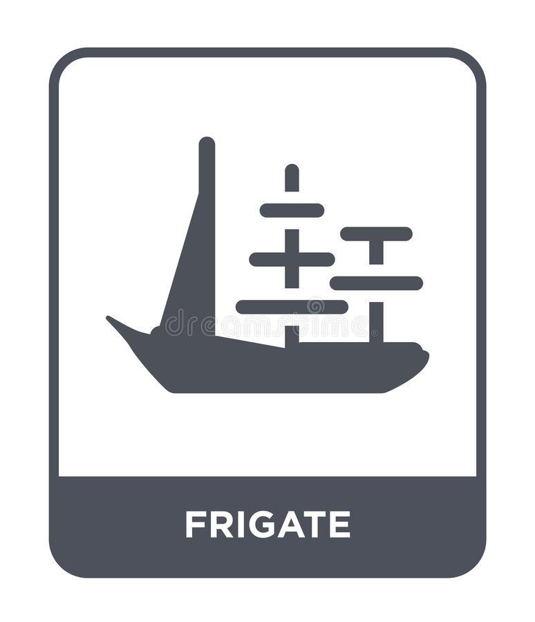 Frigate icon in trendy design style. frigate icon isolated on white background. frigate vector icon simple and modern flat symbol. For web site, mobile, logo stock illustration