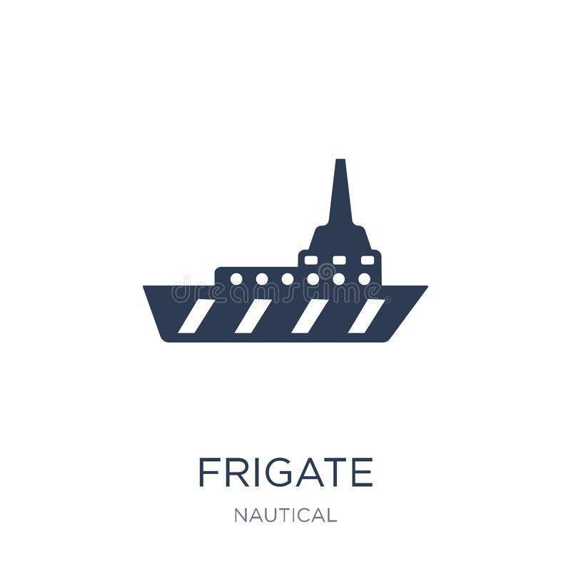 Frigate icon. Trendy flat vector Frigate icon on white background from Nautical collection. Vector illustration can be use for web and mobile, eps10 royalty free illustration