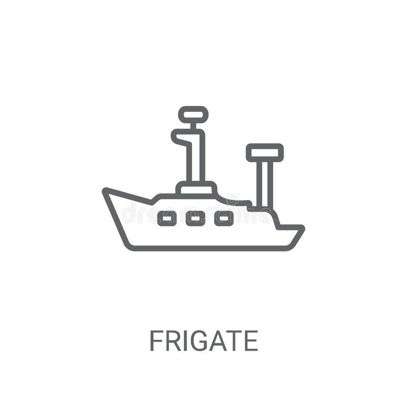 Frigate icon. Trendy Frigate logo concept on white background fr. Om Nautical collection. Suitable for use on web apps, mobile apps and print media stock illustration