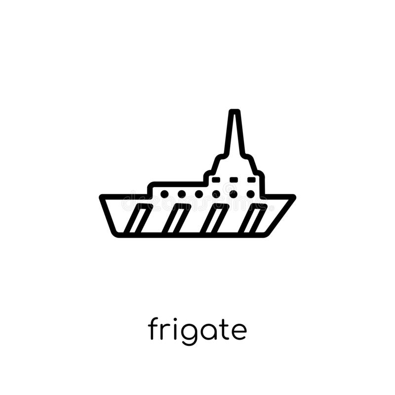 Frigate icon. Trendy modern flat linear vector Frigate icon on w. Hite background from thin line Nautical collection, editable outline stroke vector illustration vector illustration