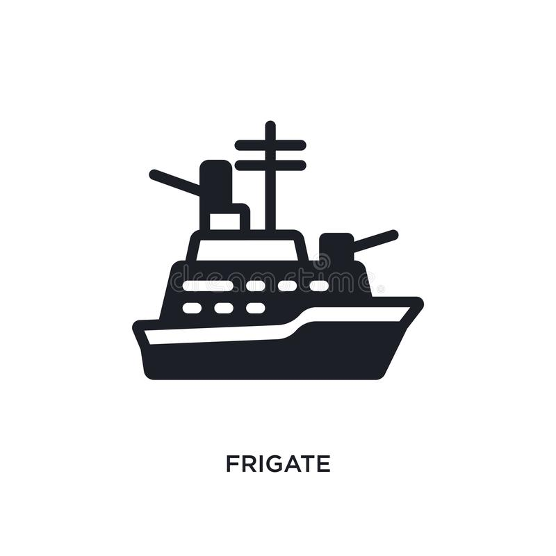 Frigate isolated icon. simple element illustration from nautical concept icons. frigate editable logo sign symbol design on white. Background. can be use for stock illustration