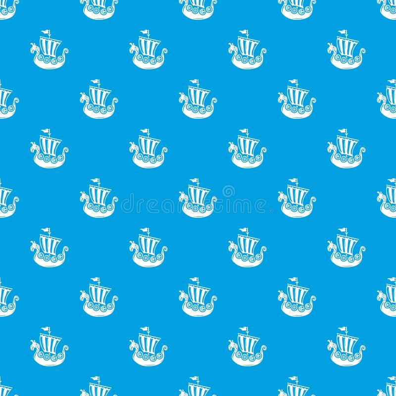 Frigate pattern vector seamless blue. Repeat for any use royalty free illustration
