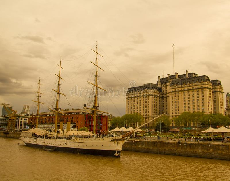 Frigate President Sarmiento. Buenos Aires port. Argentina royalty free stock photography