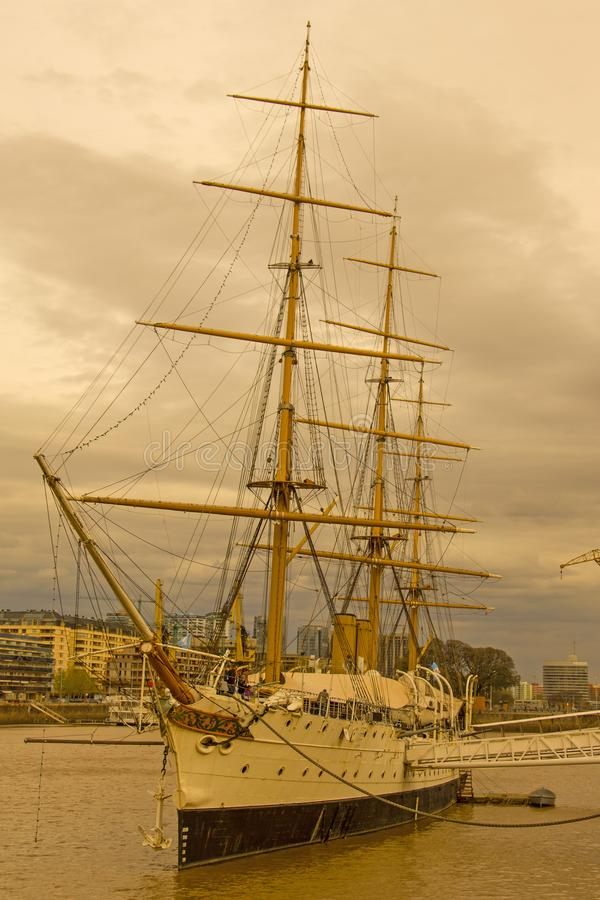 Frigate President Sarmiento. Buenos Aires port. Argentina royalty free stock image
