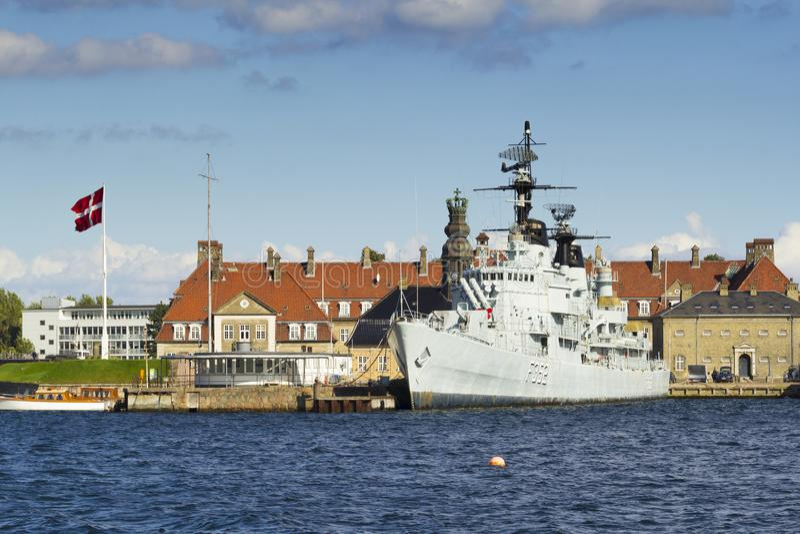 Frigate of Royal Danish Navy. Copenhagen, Denmark - September 10, 2017: HDMS Peder Skram F352 was a Peder Skram-class frigate in the Royal Danish Navy which was royalty free stock photography