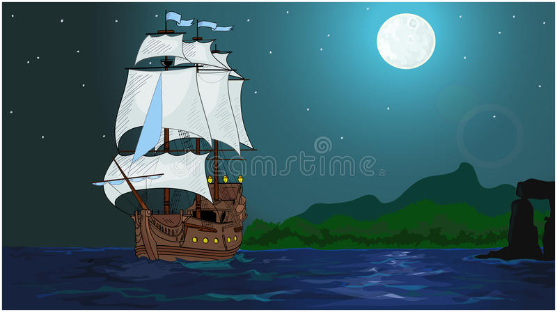 Frigate. The frigate sailed from the island under cover of night stock illustration