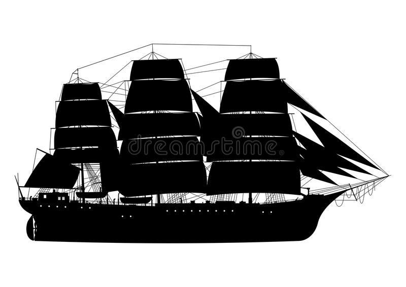 Frigate. Sailing ship. Silhouette of fully rigged ship on a white background.Side view. Flat vector stock illustration
