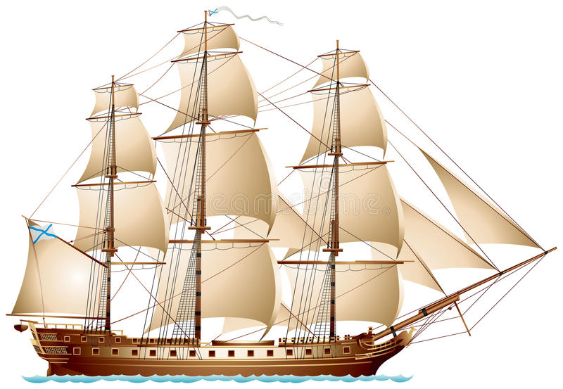 Frigate sailing warship. With Imperial Russian Navy Ensign and masthead pennant royalty free illustration