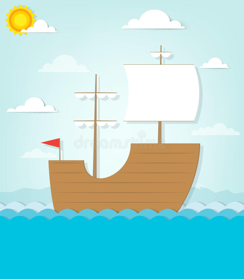 Frigate sails on the sea. This is file of EPS10 format vector illustration