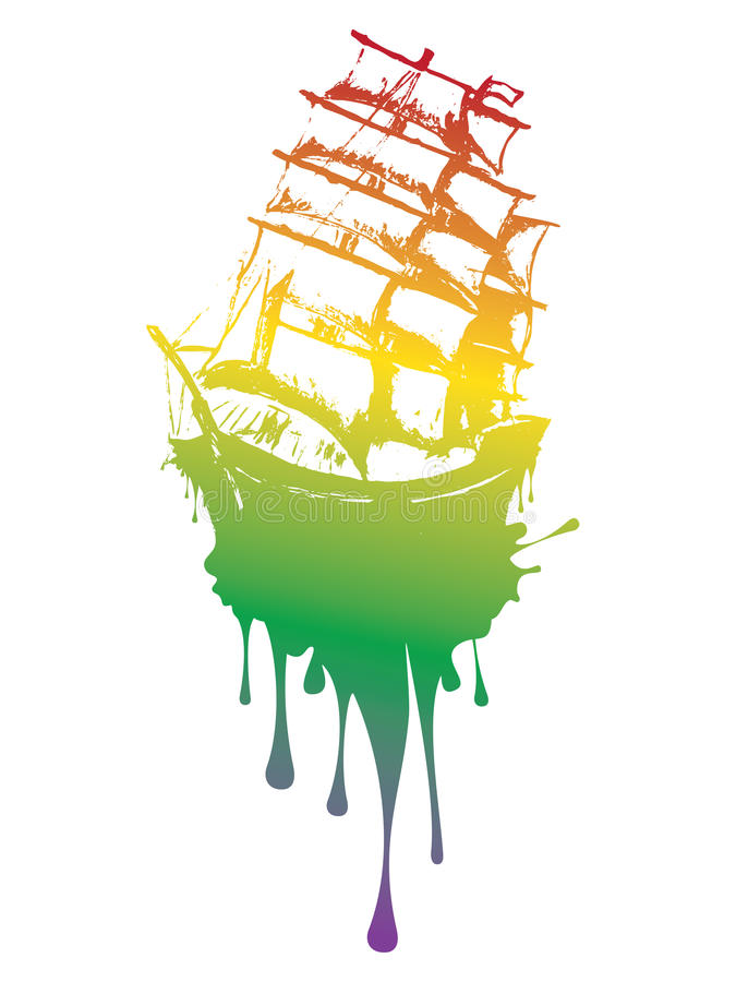 Frigate Ship Grunge. Old sail ship, frigate in the sea detailed sketch royalty free illustration