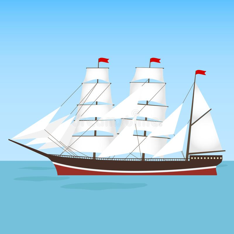 A frigate, a ship sails floating on the water. Flat design, illustration royalty free illustration