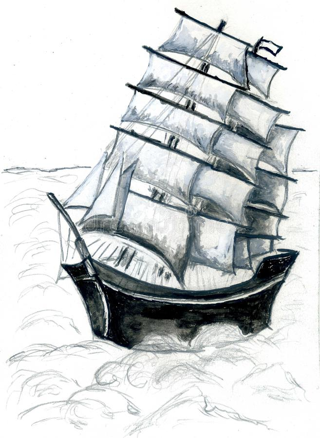 Frigate Ship Sketch. Old sail ship, frigate in the sea detailed sketch royalty free illustration