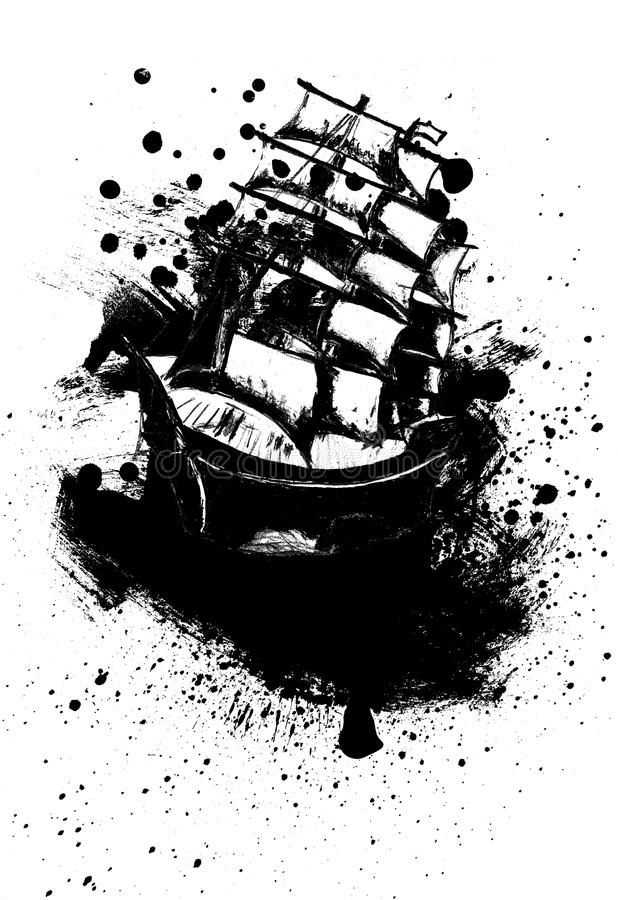 Frigate Ship Sketch. Old sail ship, frigate in the sea detailed sketch stock illustration