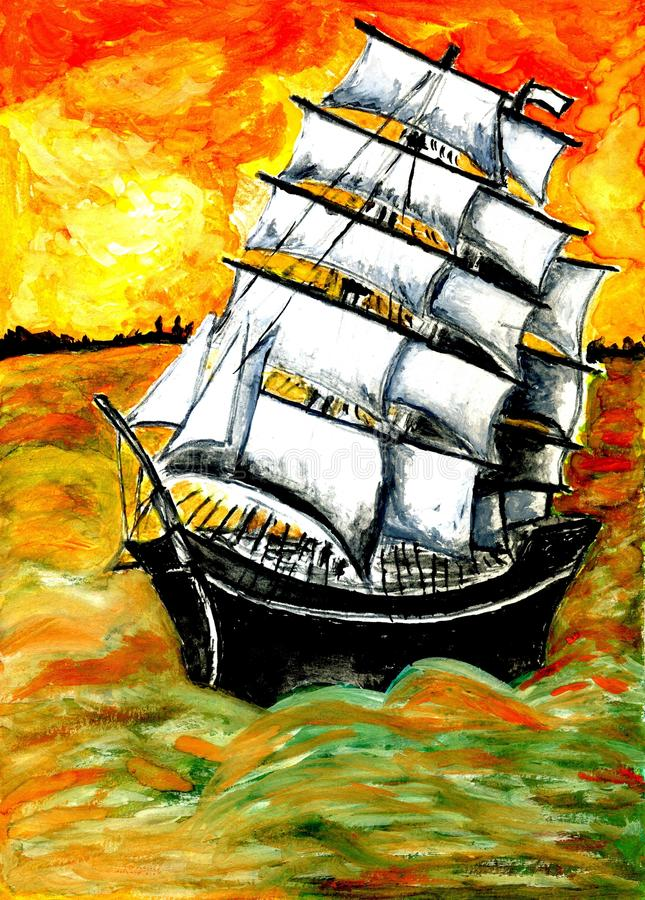 Frigate Ship at Sunset. Old sail ship, frigate in the sea at sunset, watercolor illustration stock illustration