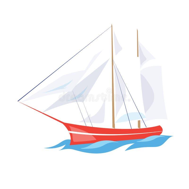 Frigate Ship on the Water. Vector Illustration. Frigate Ship on the Water. Flat Vector Illustration stock illustration