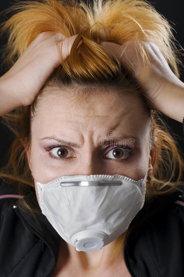 Free Frighten Woman Wearing Face Mask Stock Photos - 11583753