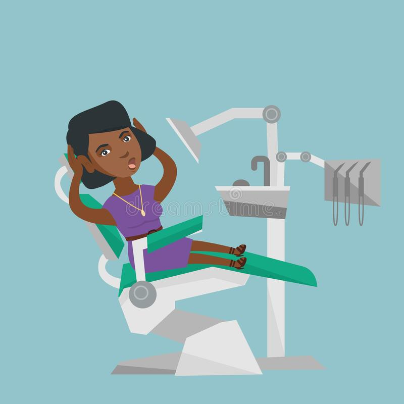 Frightened woman sitting in a dental chair. royalty free illustration
