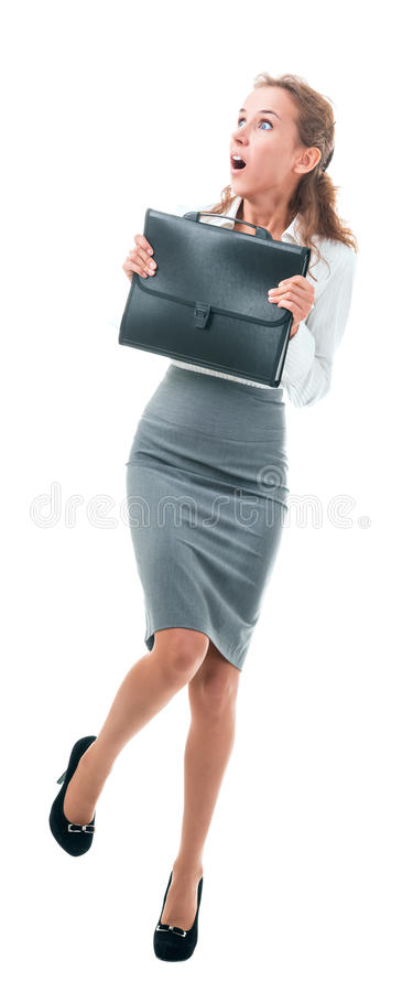Frightened business woman stock photos