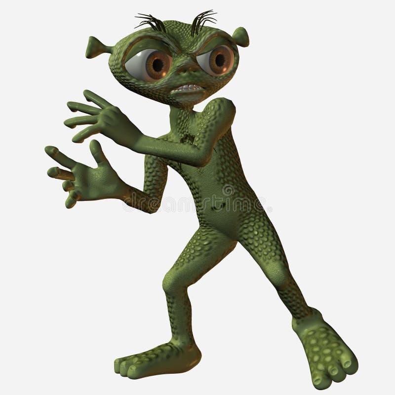 Frightened cartoon alien stock illustration
