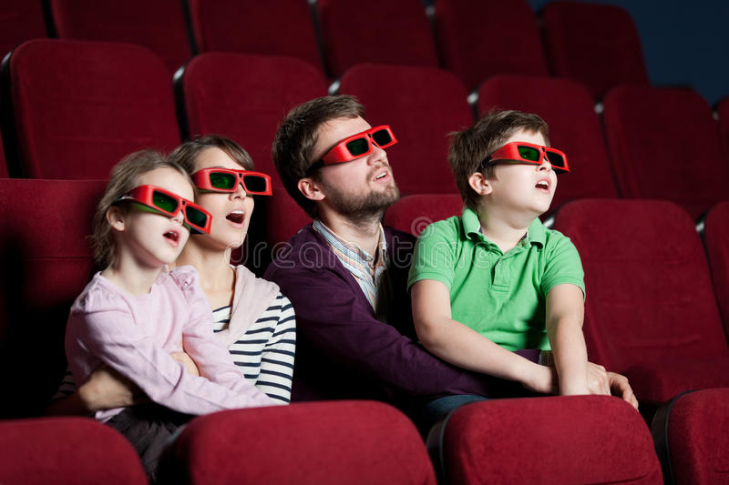 Download Frightened Family In 3D Movie Stock Photo - Image: 24842544