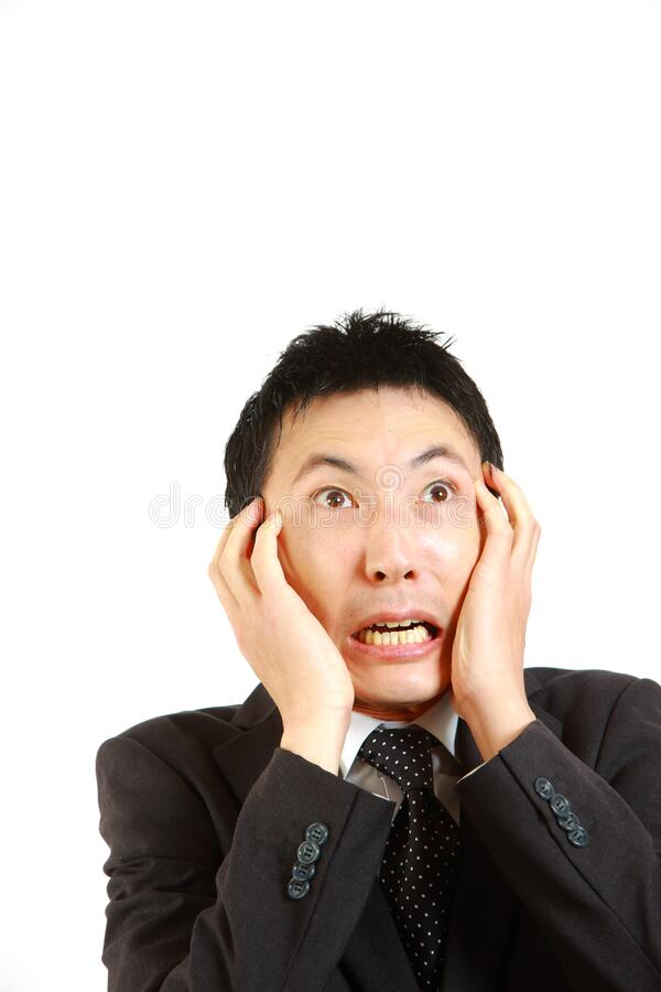 Frightened Japanese Businessman Stock Photo - Image: 44548152