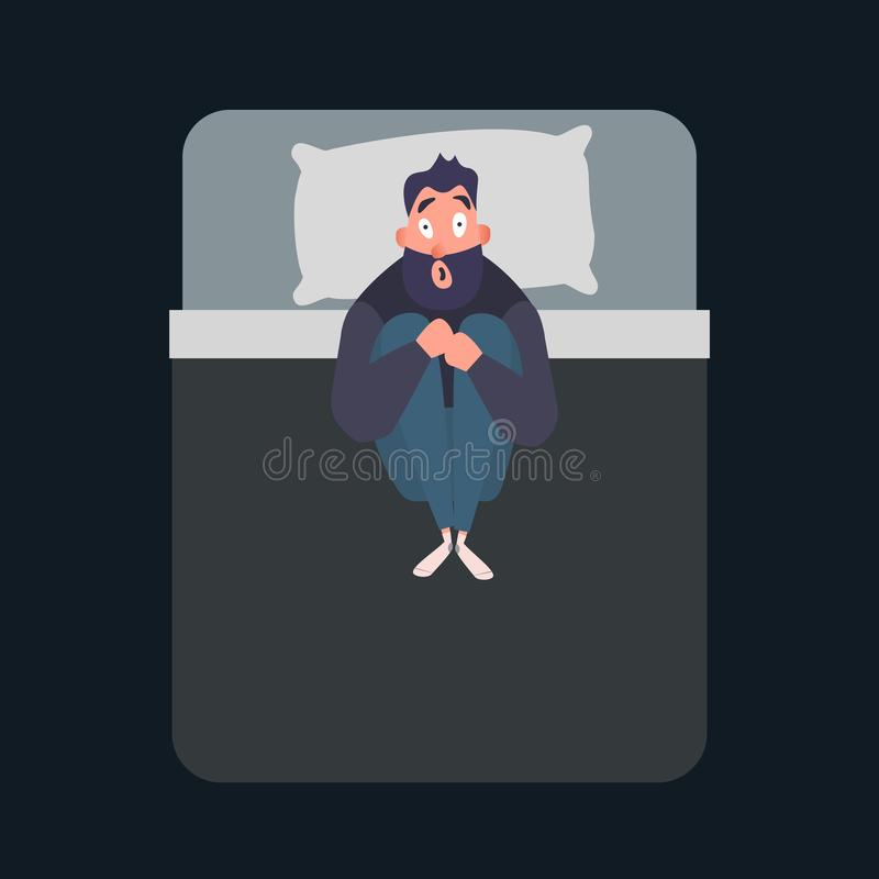 Frightened man character. Panic attack. Fear, phobia concept. Mental disorder flat vector illustration. Male suffers. From nightmares and insomnia royalty free illustration