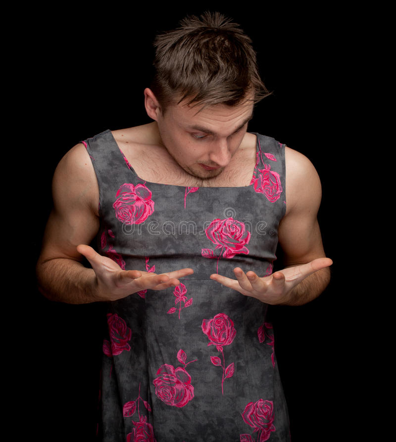 Download Frightened Man Dressed As Woman Stock Image - Image: 19176369