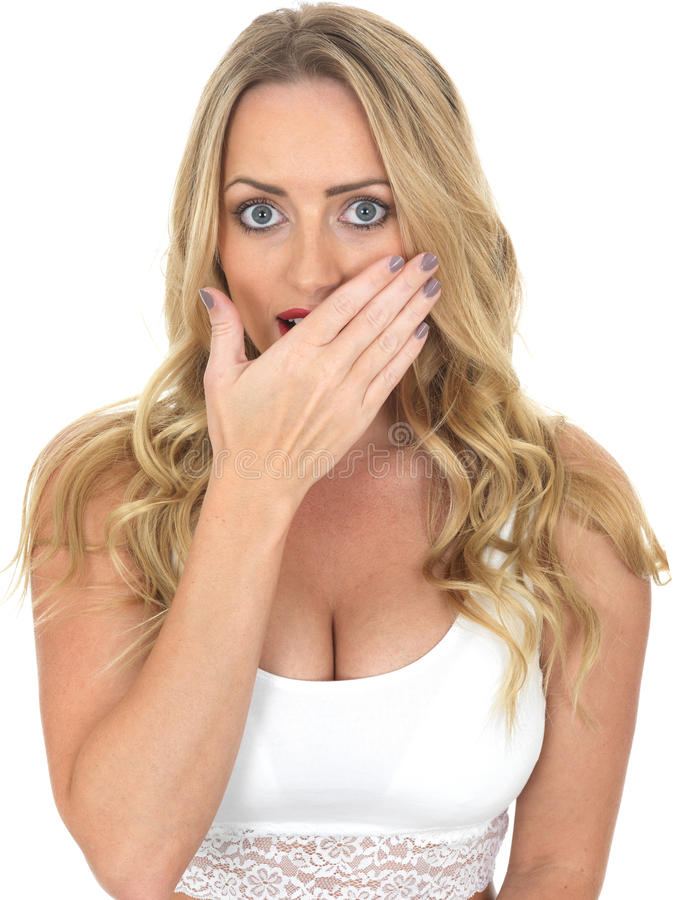 Frightened Scared Young Woman stock photos