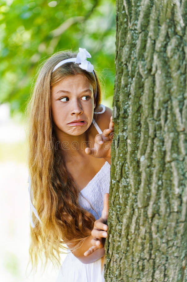 Download Frightened Teenage Peeping From Stock Image - Image: 26591367