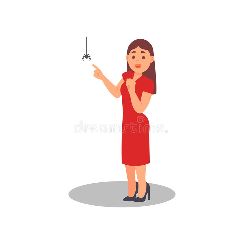 Frightened woman pointing finger at spider. Young girl with scared face expression. Flat vector illustration stock illustration