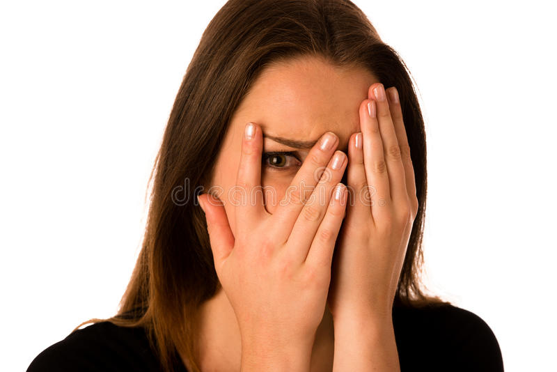Frightened woman - preety girl gesturing fear royalty free stock image