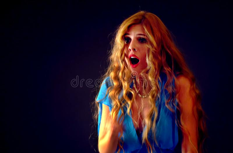 Frightened woman screaming with fear indoor at halloween night. stock image