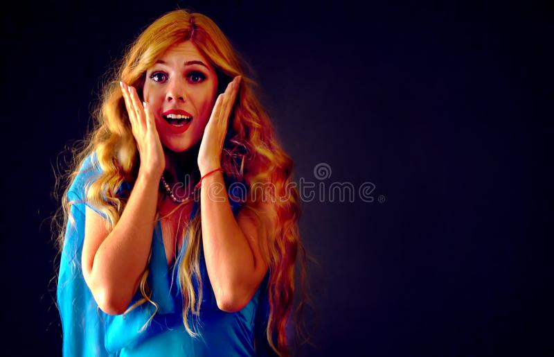 Frightened woman screaming with fear indoor at halloween night. royalty free stock photos