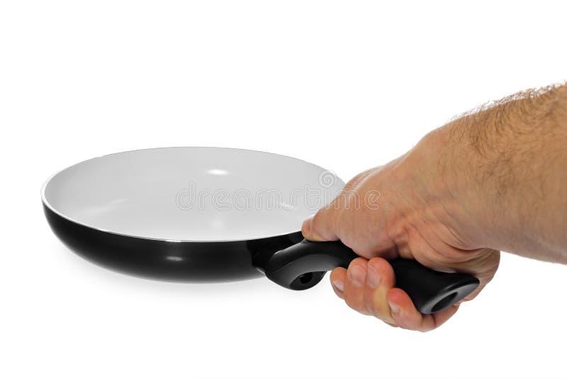 Frigideira com saudável, não-vara da cozinha, cerâmico, guardando o fotos de stock