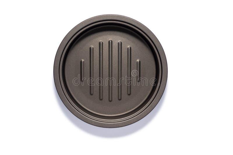 Frigideira do ferro cinzento isolada no fundo branco imagem de stock