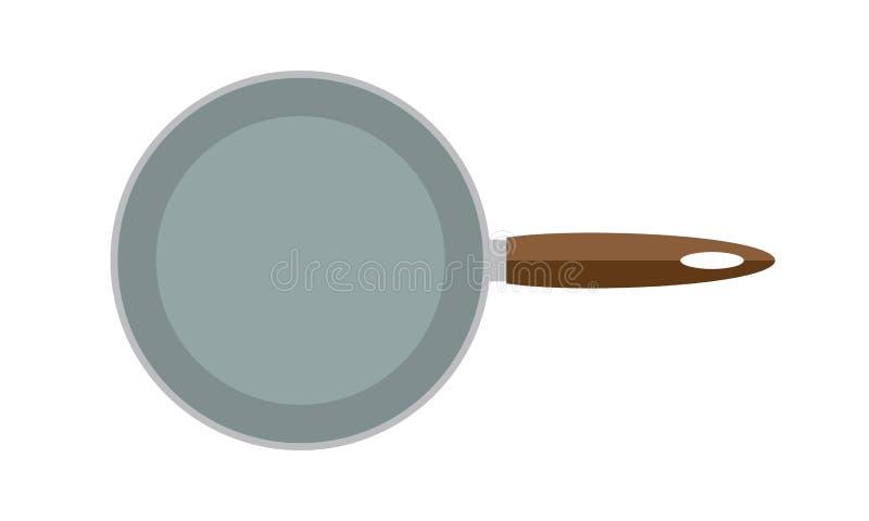 Frigideira vazia do vetor na vista superior isolada no fundo branco Ilustração lisa do vetor do estilo ilustração stock