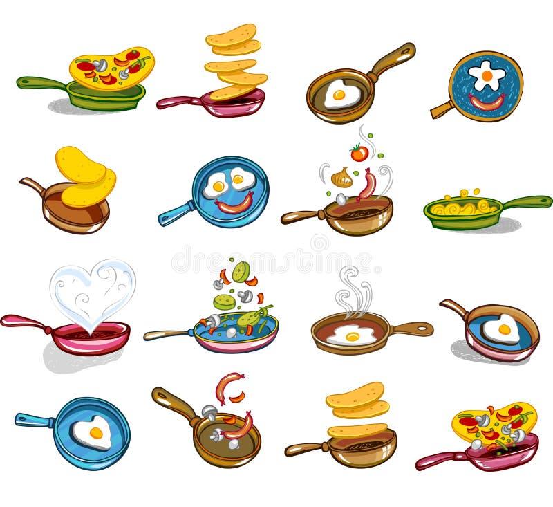 Frigideiras com alimento saboroso ilustração do vetor