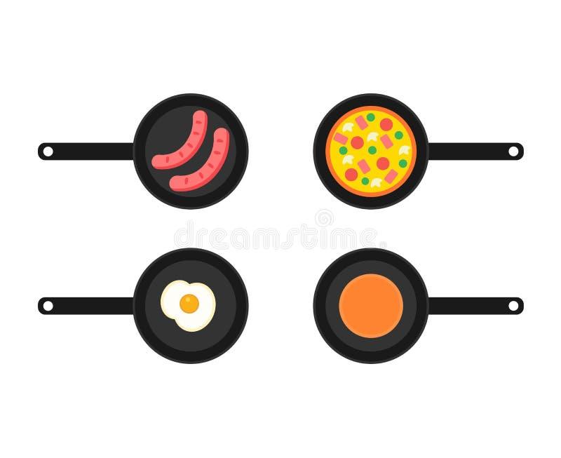 Frigideiras com quatro tipos ilustração stock