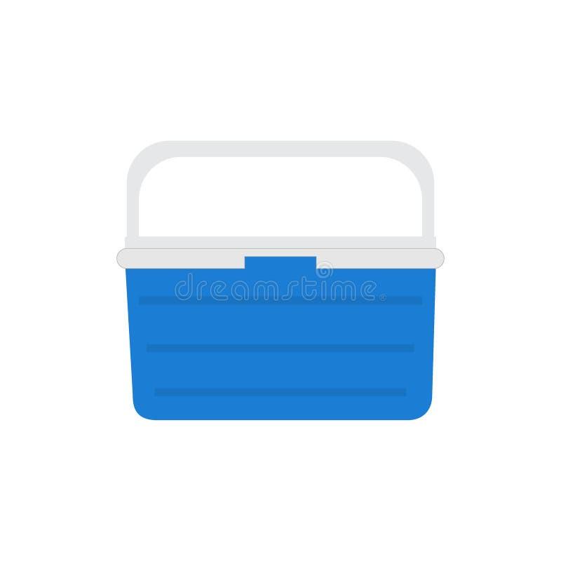 Frigorifero blu tenuto in mano, dispositivo di raffreddamento del ghiaccio per il picnic o accamparsi Illustrazione di vettore, i illustrazione di stock