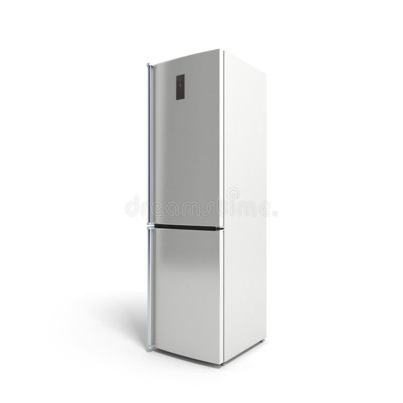Frigorifero moderno dell'acciaio inossidabile sull'illustrazione bianca 3d illustrazione di stock