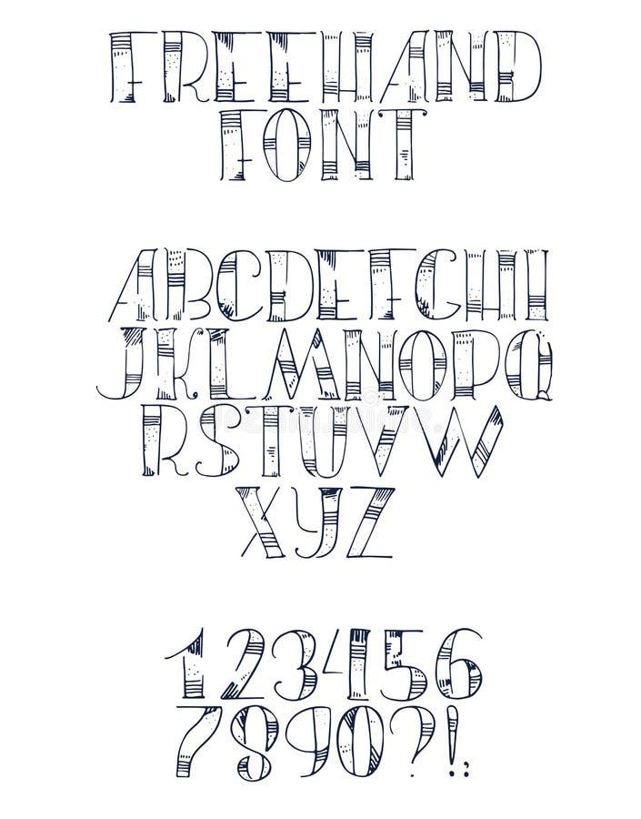 Frihandshand dragen stilsort med engelskabokstäver från a till z, nummer från 0 till 9 Alfabetföljd som dras med prickar, slaglän royaltyfri illustrationer