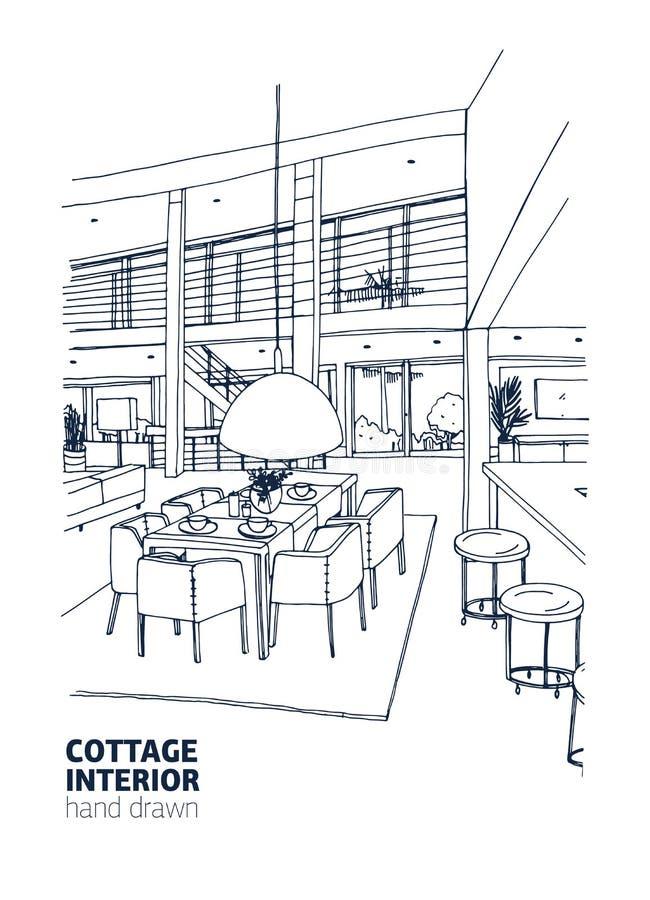 Frihandsteckning av den bostads- hus- eller sommarställeinre som möbleras i moderiktig Scandic stil bunkar som äter middag tom lo stock illustrationer
