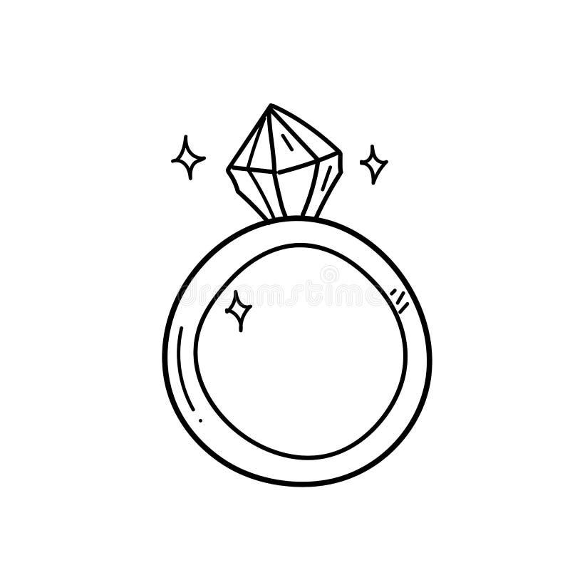 Frihandsteckningsförlovningsringillustration royaltyfri illustrationer