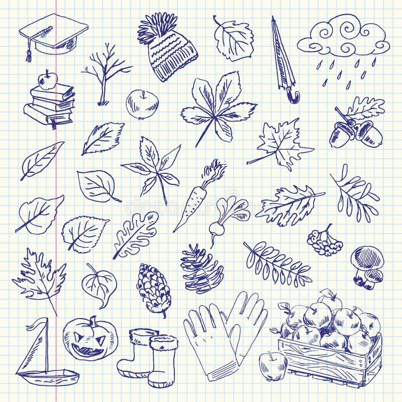 Frihandsteckningshöstobjekt på ett ark royaltyfri illustrationer