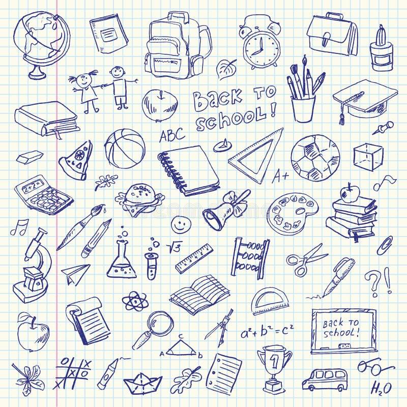 Frihandsteckningsskolaobjekt. Dra tillbaka till skolan vektor illustrationer