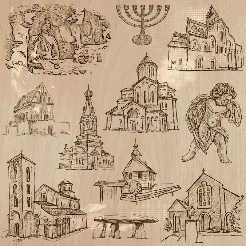 Frihandsvektorer för religion runt om världen -, packe stock illustrationer