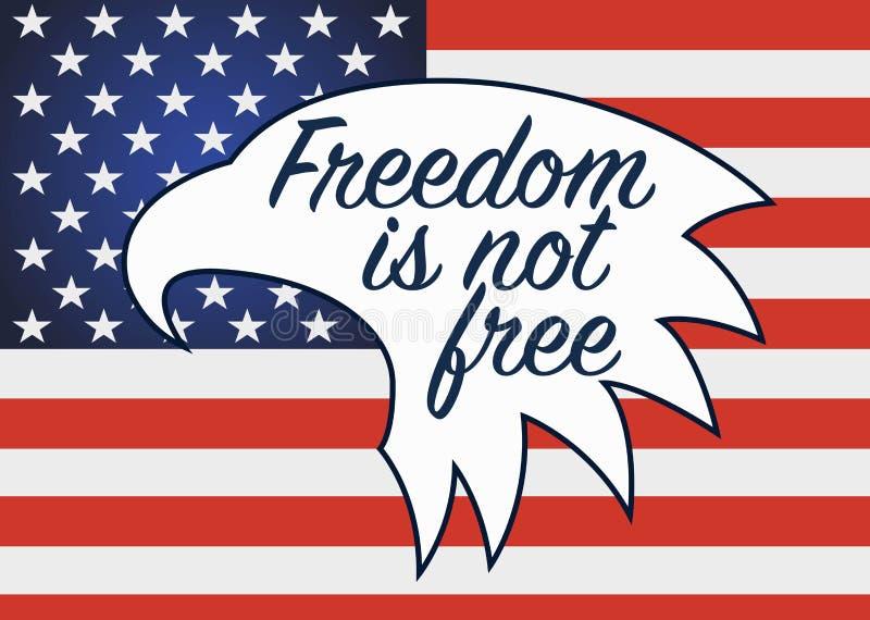 Frihet är inte fri Veterandag i USA royaltyfri illustrationer